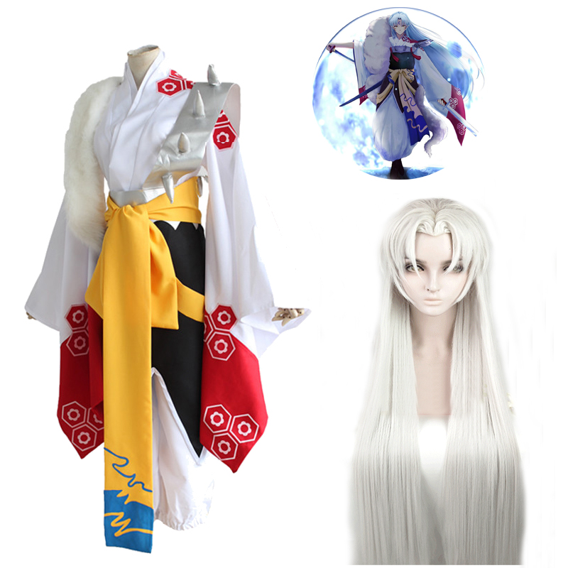 Japan Anime Inuyasha Sesshomaru Cosplay Costume Mask Kimono Wig Hair Style Costumes Silver Wigs Halloween Party