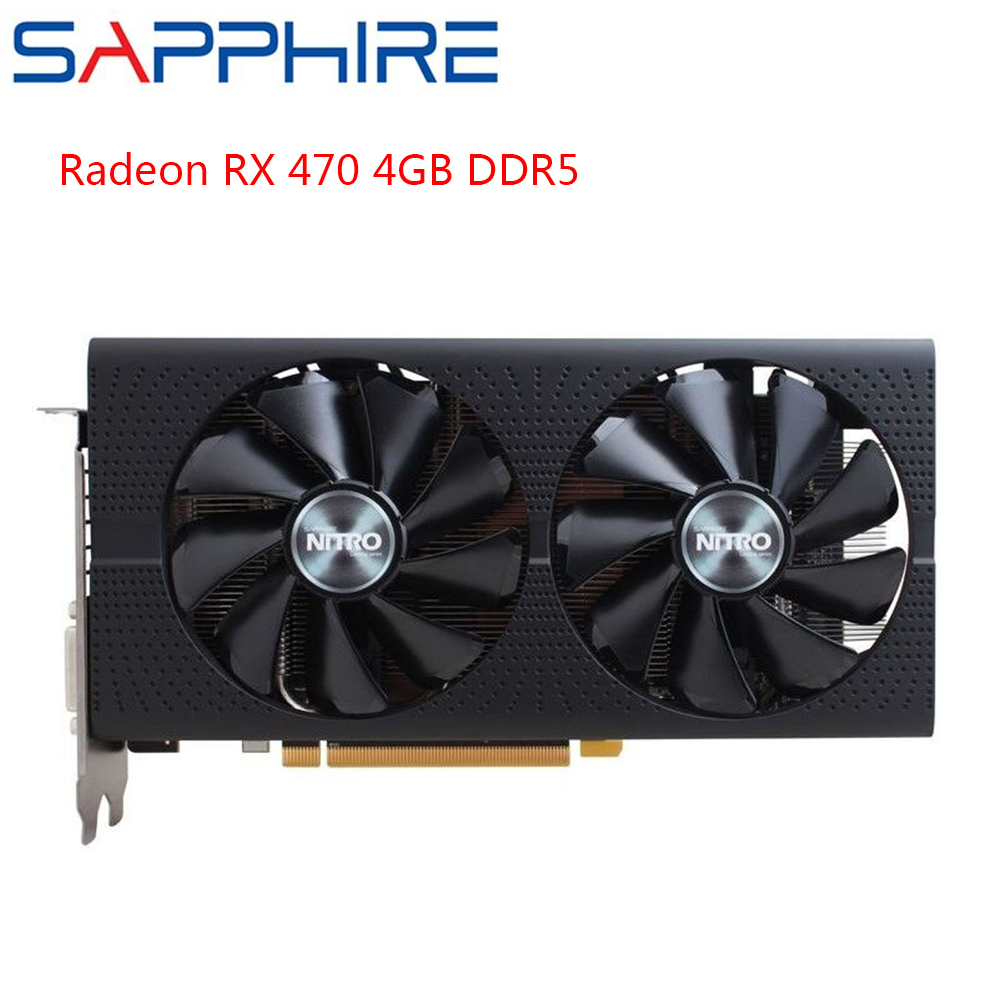 SAPPHIRE AMD Radeon RX470 4GB DDR5 Graphics Cards Gaming PC GPU RX470 256bit GDDR5 PCI Express 3.0 Desktop Used Cards Gaming