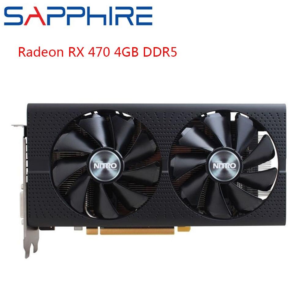 SAPPHIRE AMD Radeon RX470 4GB DDR5 Graphics Cards Gaming PC GPU RX470 256bit GDDR5 PCI Express 3.0 Desktop Used Cards Gaming