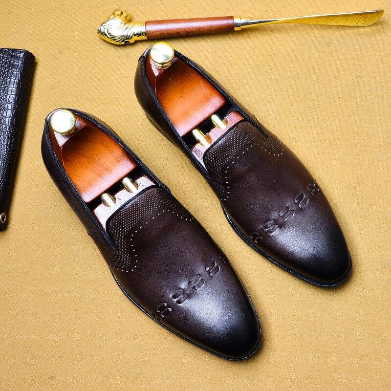 Formal Shoes Men Leather Shoes Business Dress Suit Shoes Men Brand Bullock Genuine Leather Black Slipon Wedding Mens Shoes