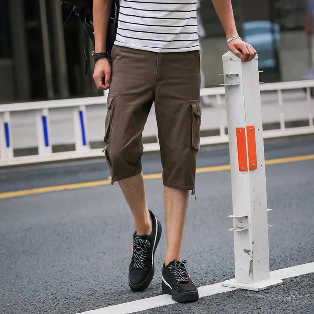 2019 Summer Loose-Fit Bags Pure Cotton Casual Pants Large Size Capri Pants Workwear Capris Casual Capri Men's Trousers