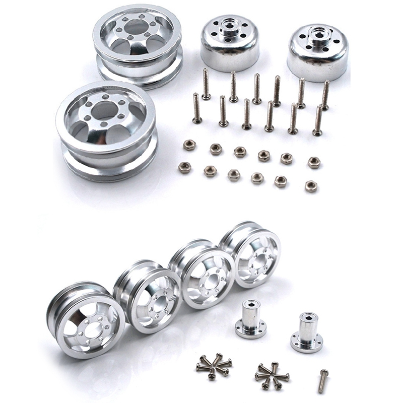 2set <font><b>Metal</b></font> Upgrade Shock-Proof Wheel Hub Rim for <font><b>WPL</b></font> B1 B16 <font><b>B24</b></font> B36 C14 C24 1/16 RC Truck with Screw image