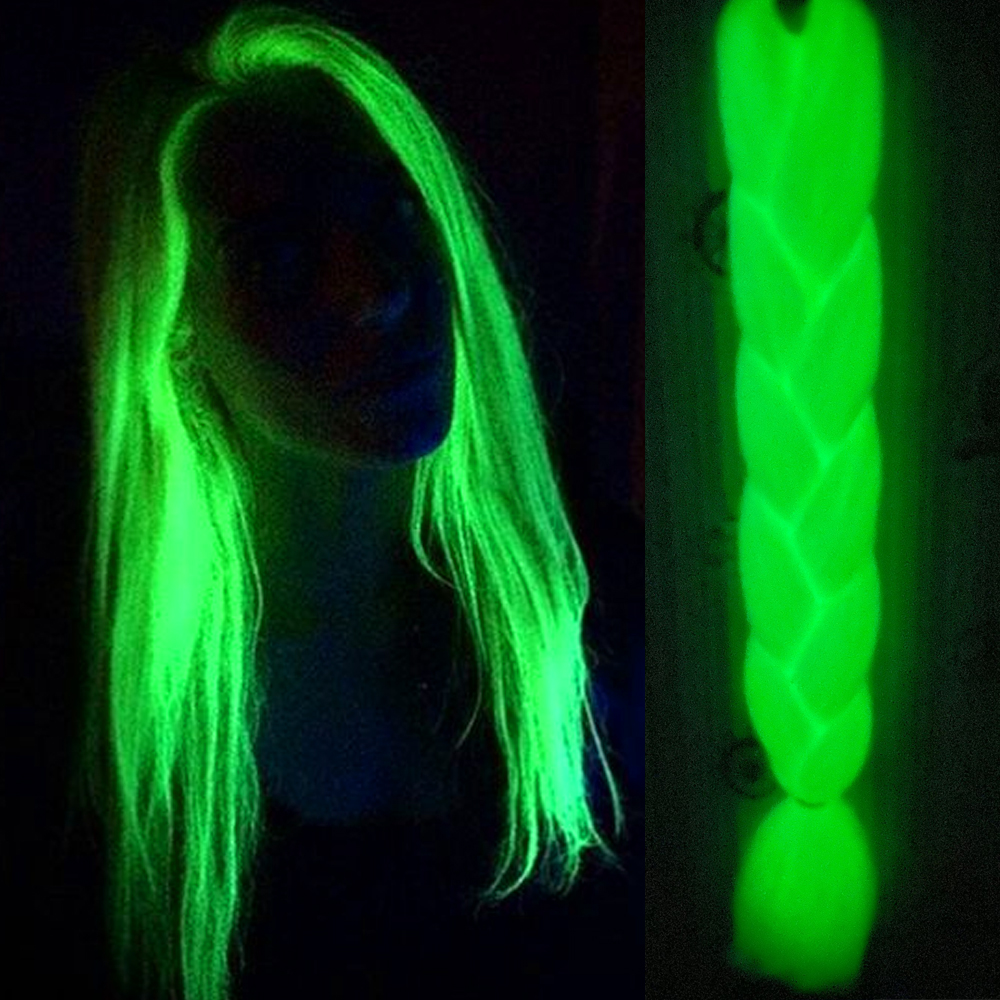 Neon Glowing Hair Florescent Light Braiding Hair Synthetic Jumbo Braids Shining Hair In The Darkness 24inch 100g Kanekalon