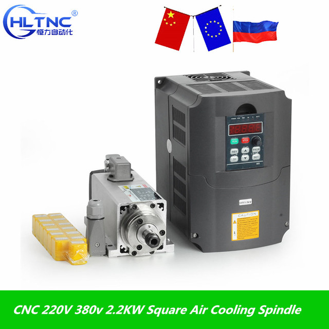 Gratis Verzending Cnc 220V 380V 2.2KW Vierkante Luchtkoeling Spindel 2200W Luchtgekoelde Freesspindel + vfd Inverter + 13 Stks/set ER20