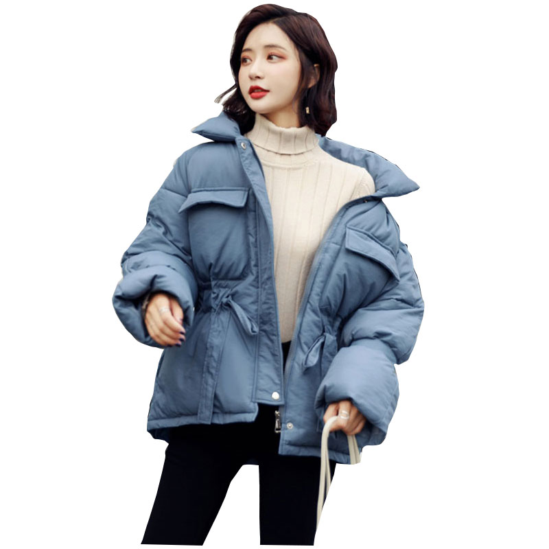 Women Oversize Stand Collar Winter Down Coat Jacket Thick Warm Cotton Padded Wadded Parkas Big Pocket Wind Breaker Sleeves