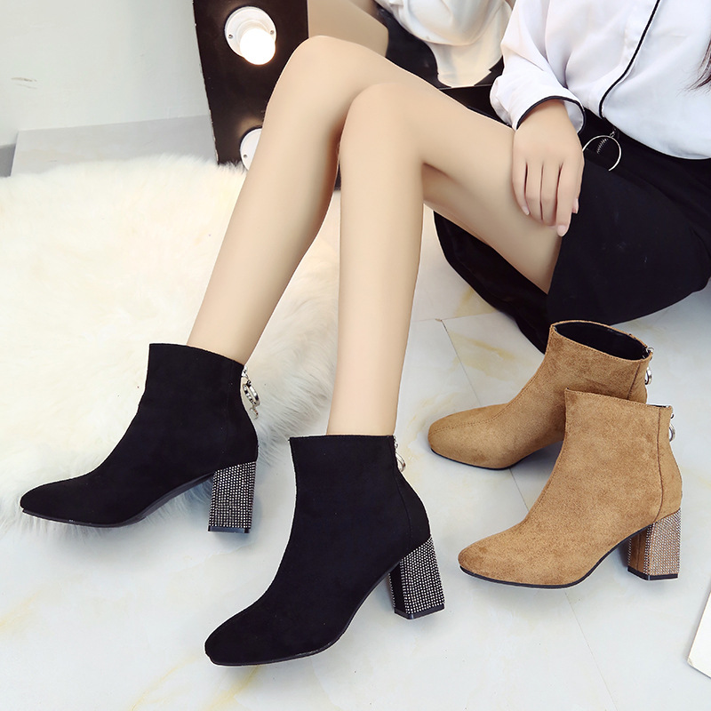 Round Toe Flock Fashion Women Ankle Boots Med Sewing Platform Solid Vintage Chelsea Boots Square Heel Zip Casual Big Size Shoes