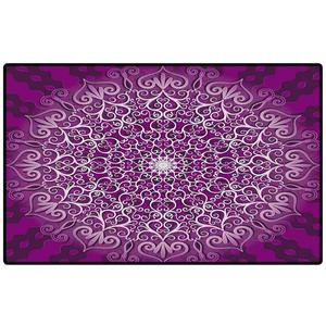Durable Rubber Door Mat Round Decorative Gentle White and Violet Pattern Vector Indoor/Kitchen Mats and Rugs Area Rugs Rubber
