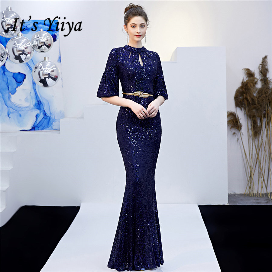 Mermaid Formal Dress It's Yiiya DX 266 O-Neck Sequined Floor-Length Women Party Dresses Mermaid Cut-out Robe De Soiree