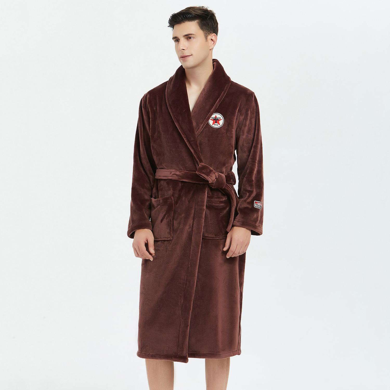Robe Kimono Gown Warm Sleepwear Winter Men Flannel Nightwear Nightgown Casual Belt Bathrobe Gown Homewear Soft Nightdress