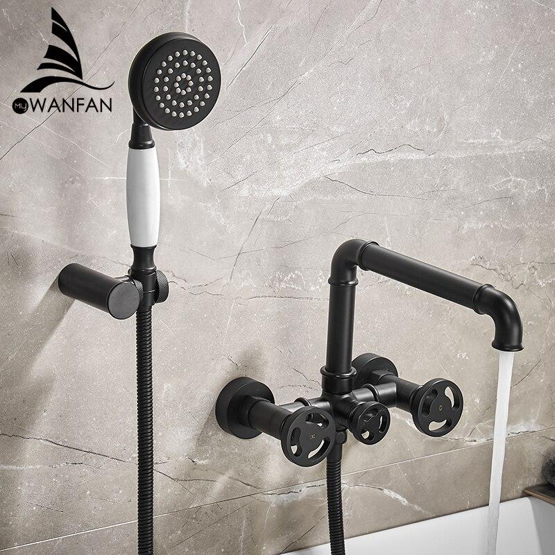 Смеситель для ванны, черный набор для душа, белый набор для душа, смеситель для ванны, двойной, современный, настенный, для ванной 20E01