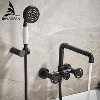 Bathtub Faucets Black Bath Shower Set White Shower Set Bathtub Mixer Tap Dual Contral Shower Wall Mounted For Bathroom 20E01