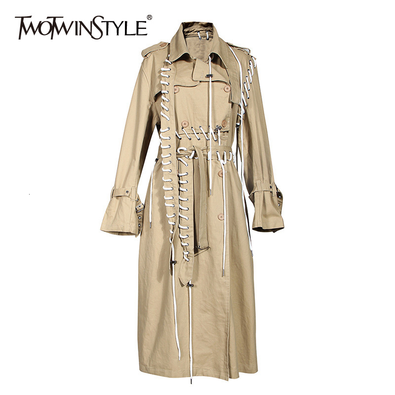 TWOTWINSTYLE Drawstring Trench Coats Womens Lapel Collar High Waist Lace Up Female Windbreaker Autumn Big Size Fashion New 2019