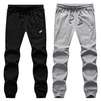 Athletic Pants Men's Loose Straight Spring And Autumn Knitted Cotton Casual Long Pants Men Plus sized Large Size Fat Sweatpants