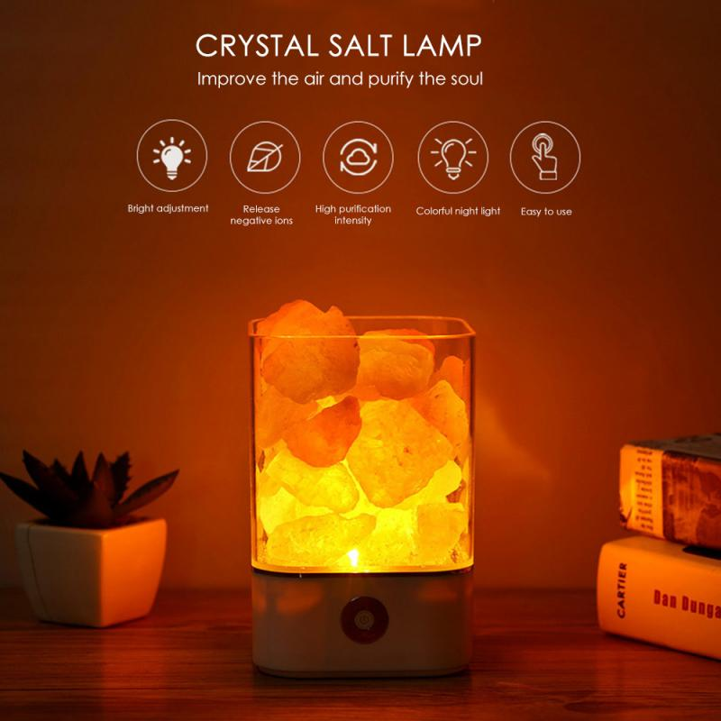 USB Crystal Light Natural Himalayan Salt Lamp Led Lamp Air Purifier Indoor Warm Light Table Bedroom Lava Lamp