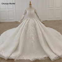 LS11555 Wedding Dress Train Decorated With Sequin Ivory Applique Backless Wedding Dress Lace Long Sleeve