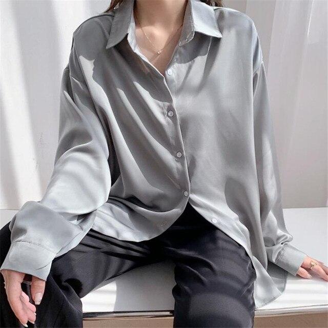 2020 Autumn Women Fashion Long Sleeves Satin Loose Blouse Vintage Femme V Neck Street Shirts Elegant Soft Blouse OF7527 1