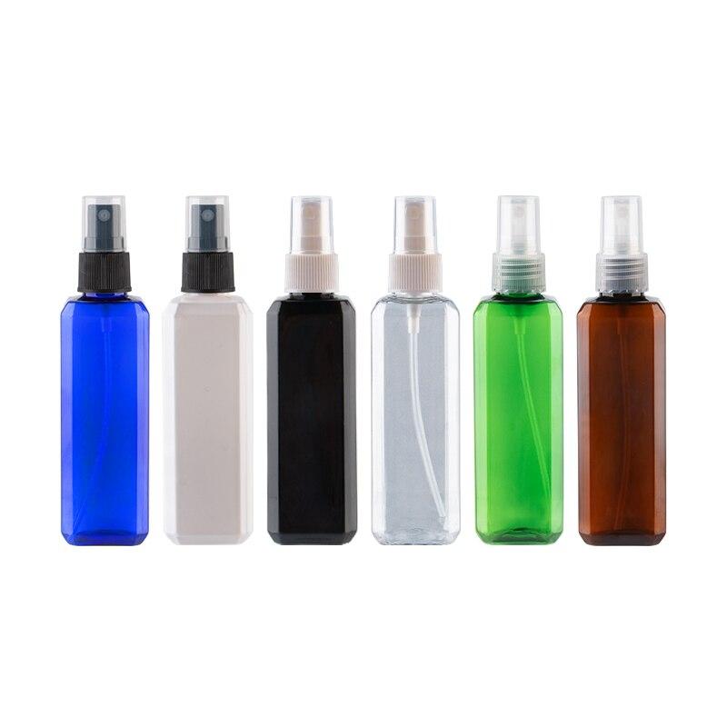100ml X 50 pompa do opryskiwacza Coloed butelki z tworzyw sztucznych 100cc grzywny mgły Spray buteleczka na perfumy kwadratowe puste butelki kosmetyczne cyny w Butelki wielokrotnego użytku od Uroda i zdrowie na AliExpress - 11.11_Double 11Singles' Day 1
