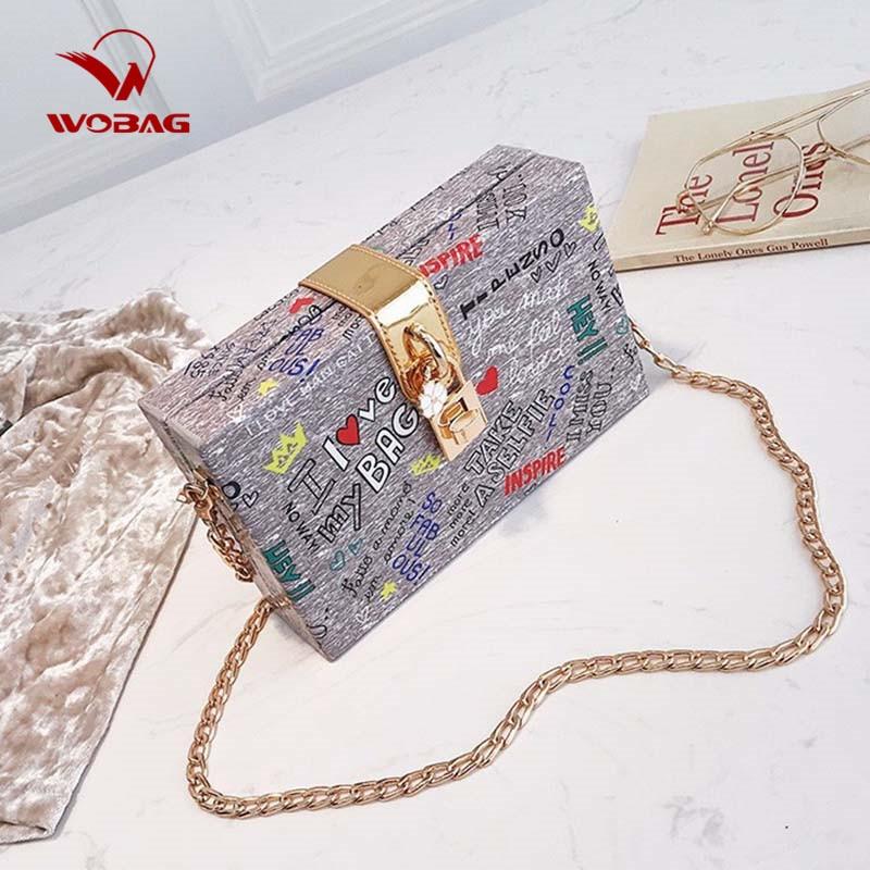 WOBAG Fashion Handbag Lock Letter Graffiti Crossbody Bag Ladies Hard Case Box Clutch Bag Women Evening Party Shoulder Bags