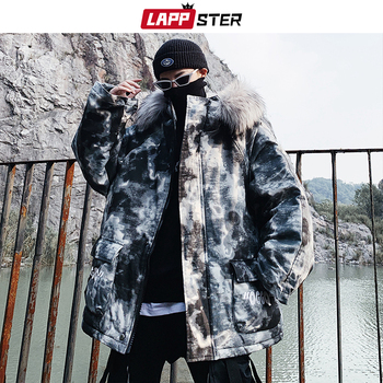 LAPPSTER Camo Winter Jacket Thick Men Streetwear Hooded Parka Fur Coat 2020 Man Harajuku Japanese Black Puffer Jacket Plus Size