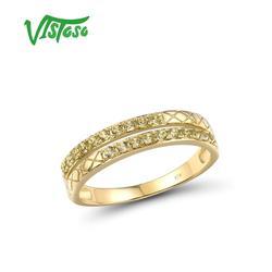 VISTOSO złoty pierścionek dla kobiet oryginalne 10K pierścionek z żółtego złota musujące Peridot pierścionki zaręczynowe rocznica elegancki prezent biżuterii