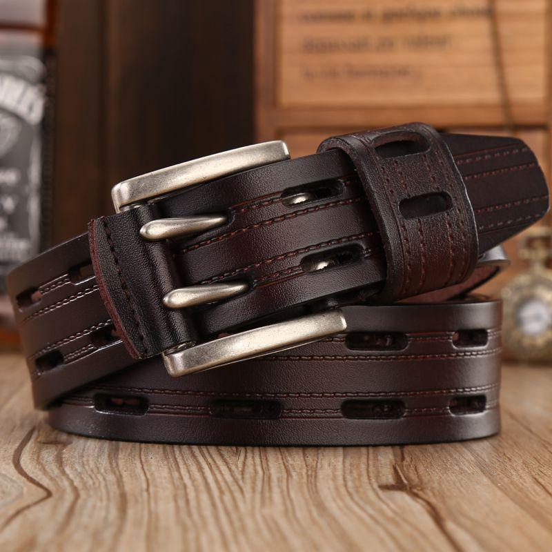 Мужские ремни из натуральной кожи высокого качества, брендовые ремни с двойной пряжкой, Модные Винтажные ковбойские ремни для джинсов
