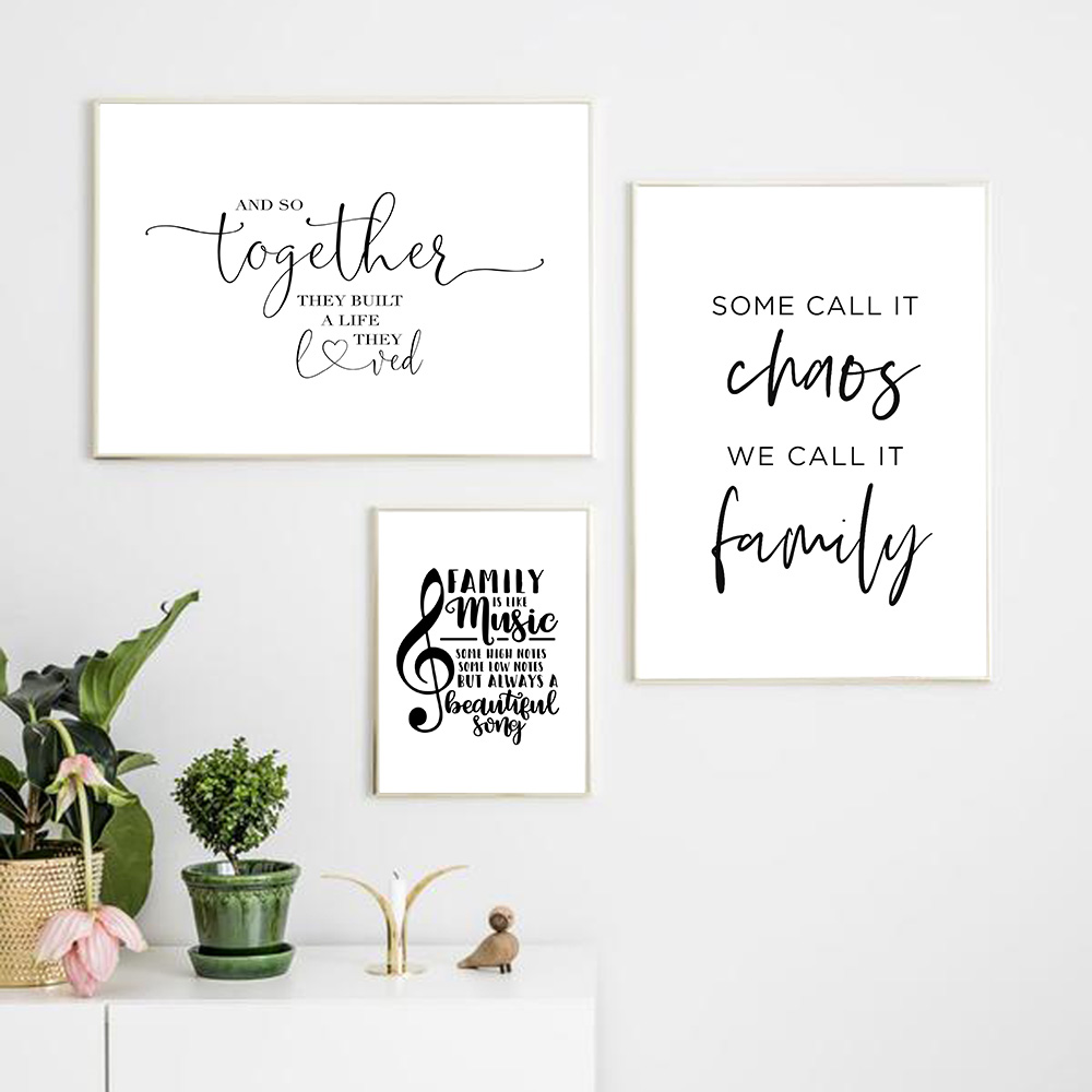 Simple Style Family Quote Poster Black and White Canvas Painting Music Note Pictures for Living Room Nordic Decoration Home Art