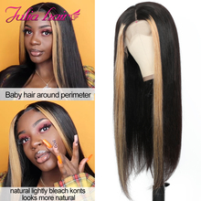 13x4 Lace Front Wigs For Women Highlight Lace Front Bob Human Hair Wig Brazilian Straight Lace Frontal Wig Ali Julia Streaks Wig