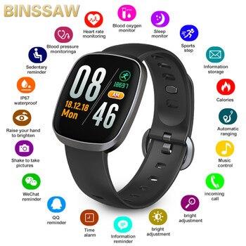 BINSSAW Women Smart Watches IP67 Waterproof Heart Rate Wristband Fitness Tracker Sports Wrist Watch Men Smartwatch IOS Android
