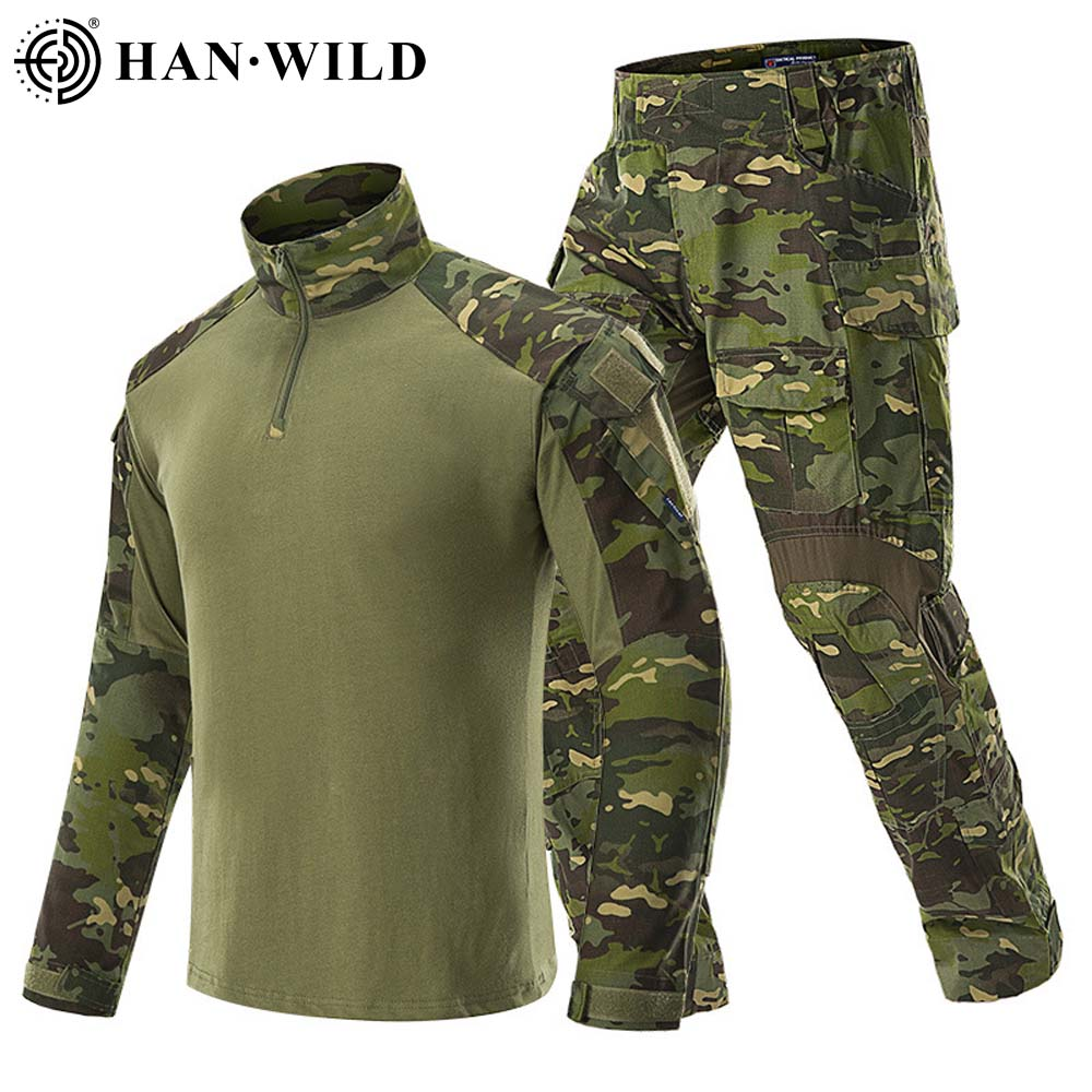HAN WILD Hunting Suit Camouflage Tactical Uniform G3 Army Combat Sets Airsoft Paintball Multicam Cargo Pant T-shirts with 4 Pads