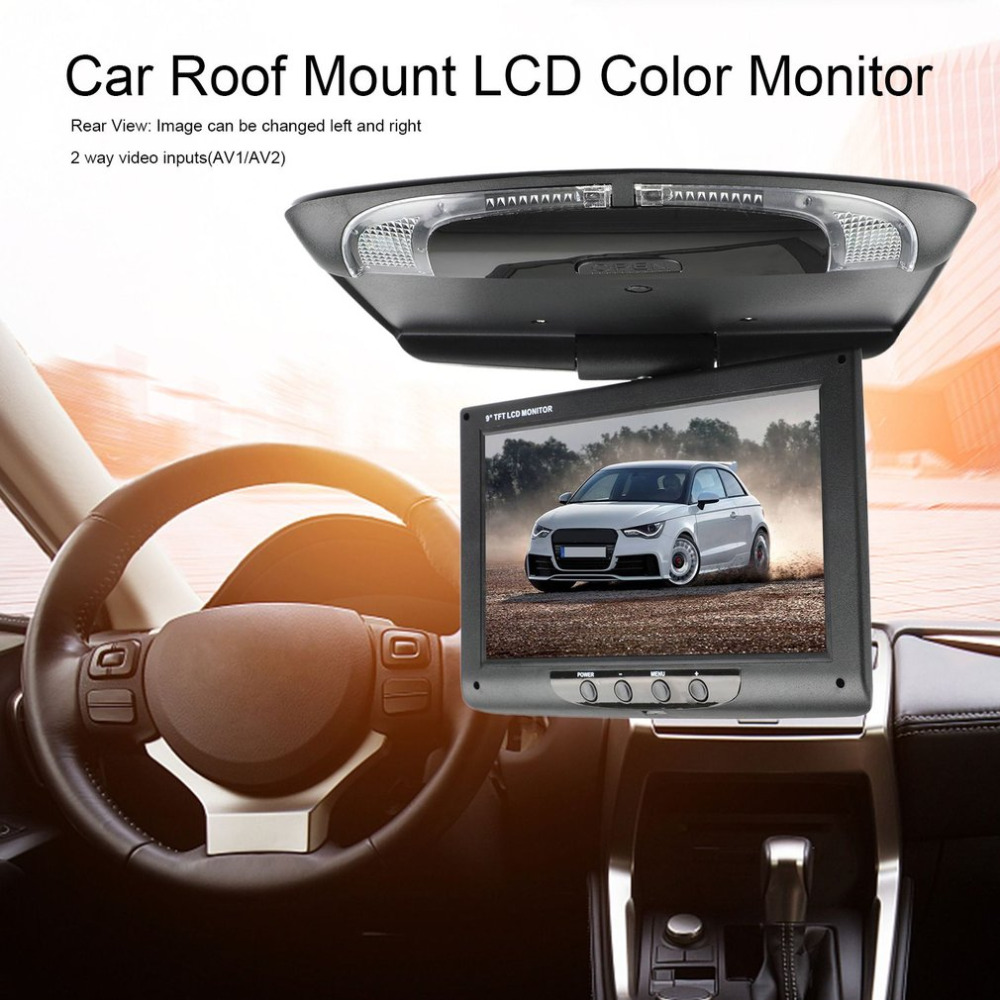 Screen Monitor Roof-Mount Display Multimedia Overhead Flip Video-Ceiling Lcd-Color 9inch title=