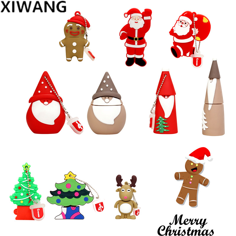 USB Flash Drive 128GB Pendrive 64GB 32GB Cartoon Snowman Christmas Tree Pen Drive 16GB 8GB Key Elk Santa Claus Best Fashion Gift