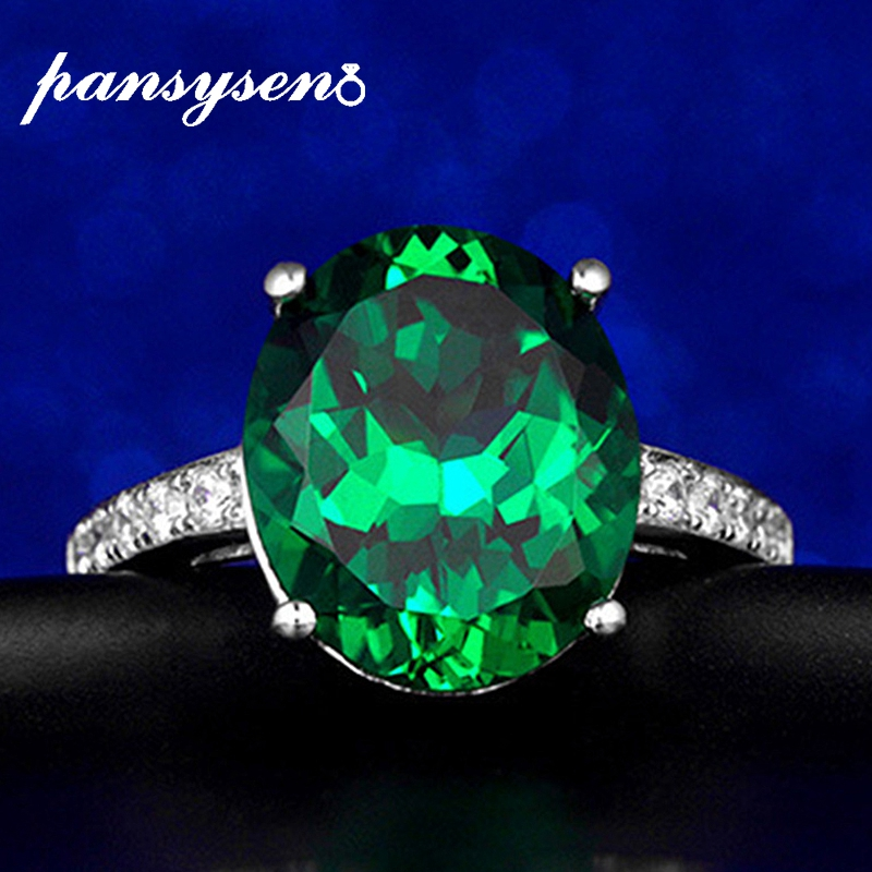 PANSYSEN Natural Emerald Rings 925 Sterling Silver Gemstone Ring For Women Wedding Engagement Fine Jewelry Accessories Gifts