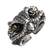 925 Silver Jewelry Punk Owl Ring For Men Vintage Adjustable Snake Animal Ring New Arrival Gift недорого