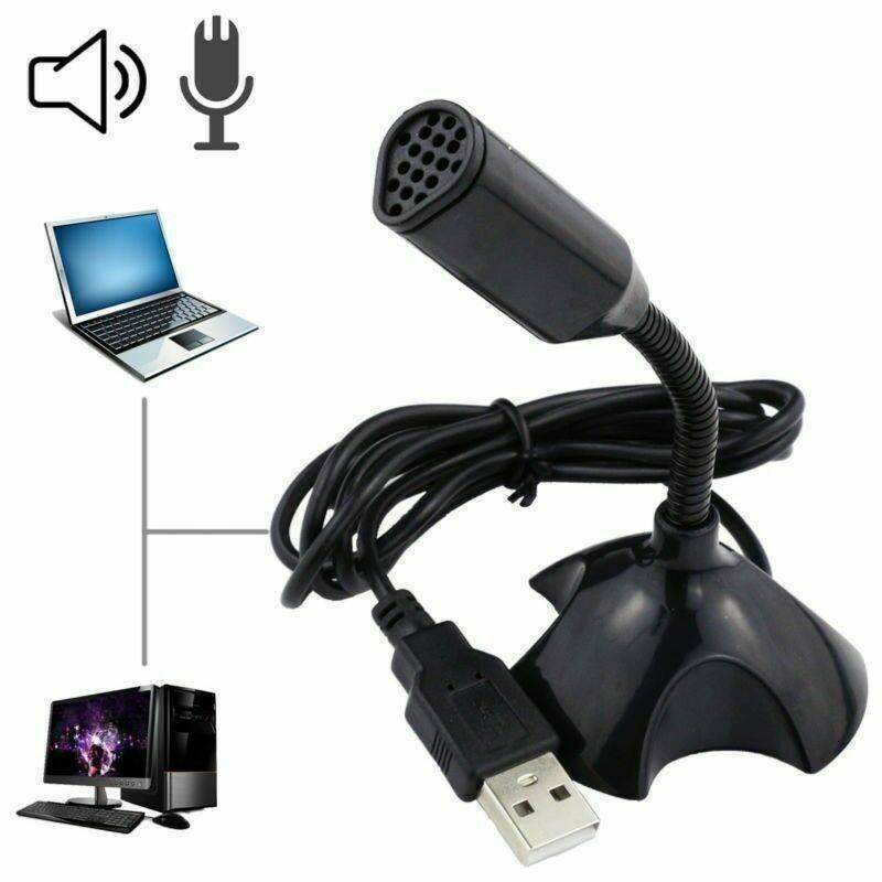 Регулируемый USB-микрофон для ноутбука, студийный мини-микрофон для речи, с подставкой, с держателем, для ноутбука, настольного ПК, 1 шт.