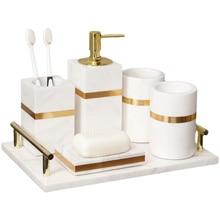 Marble Bathroom Set Liquid Soap Dispenser/Dish Toothbrush Holder Gargle Cup Tray Cotton Swab/Tissue Box Aromatherapy Bottle