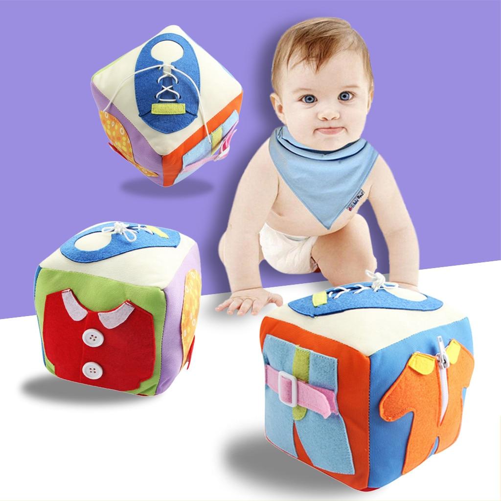 Kids Toys Educational Learning Education Toys Baby Intelligence Development Life Skill Cloth Dressing Cube Toy