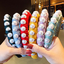2020 New Women Elegant Colorful Big Pearls Cloth Velvet Hairbands Sweet Headband Hair Holder Ornament Fashion Hair Accessories