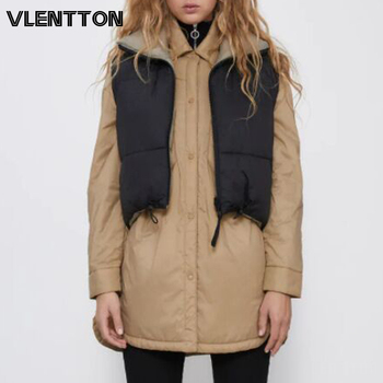 Autumn Winter New Women Vintage Black Jacket Coat Fashion Double Sided Warm Sleeveless Outerwear Female Casual Short Cotton Tops 1