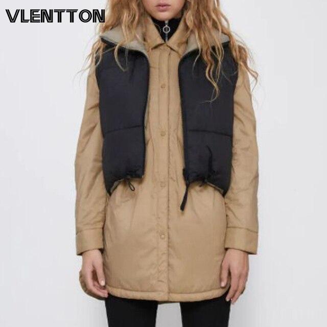 Autumn Winter New Women Vintage Black Jacket Coat Fashion Double Sided Warm Sleeveless Outerwear Female Casual Short Cotton Tops 1