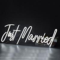 Custom Neon Sign Light Logo just married 3D Led Flex Transparent Acrylic Plexiglass Letter Board Party Background Decor wedding