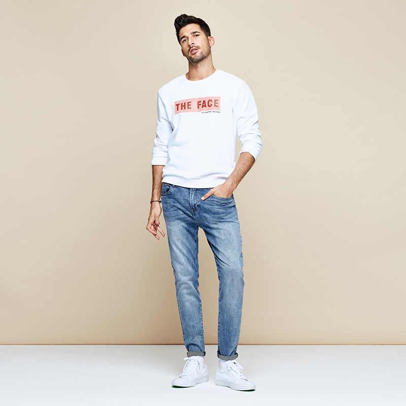 Pantalones vaqueros ceñidos para hombre de marca de Streetwear de algodón azul de Otoño de KUEGOU 2019 para hombre, pantalones elásticos de Hip Hop, nuevos pantalones 2965
