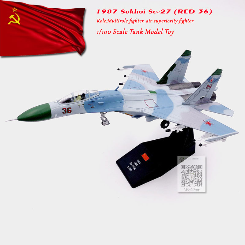 WLTK 1/100 Scale Military Model Toys SU-27P Flanker 1987 Russian NO.36 Fighter Diecast Metal Plane Model Toy For Collection,Gift
