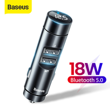 Baseus FM Transmitter Car Handsfree Kit Bluetooth Adapter Receiver 18W USB Car Charger Aux Audio MP3 Player Auto Radio Modulator