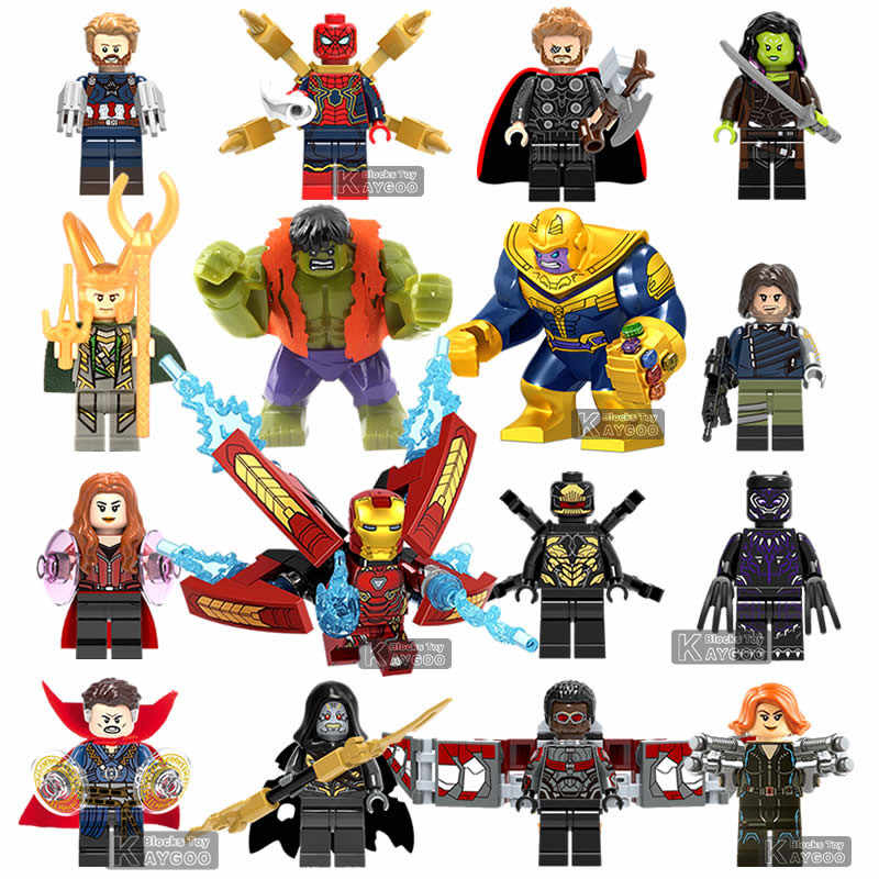 Super Heroes Avengers LEGOINGLYS Infinity War Thanos Gauntlet Iron Man Falcon Gamora Thor Black Panther Hulk Building Blocks Toy