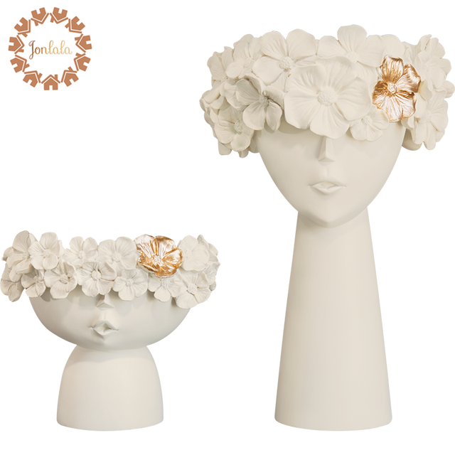 1 Pair Creative Human Head Vase Sundries Storage Box Decorative Resin Vase Mother's Day Home Model Room Decoration Ornaments 1