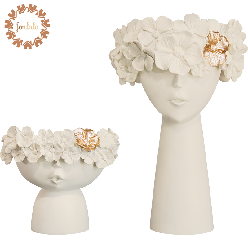 1 Pair Creative Human Head Vase Sundries Storage Box Decorative Resin Vase Mother's Day Home Model Room Decoration Ornaments Figurines & Miniatures     - title=