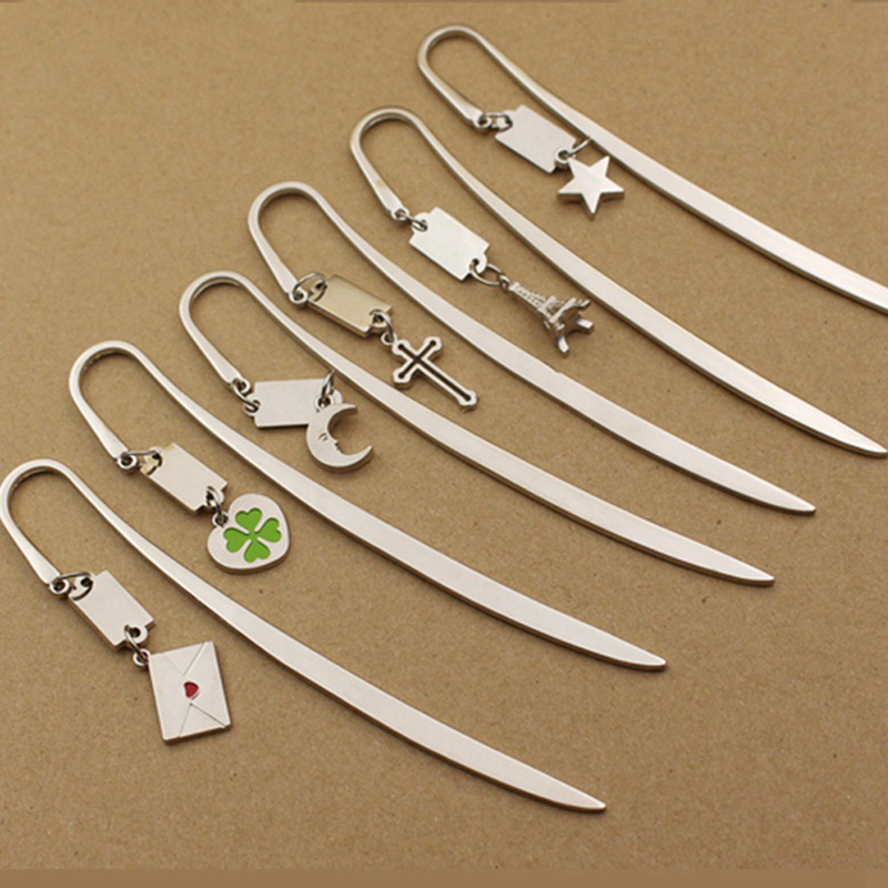 Retro Zinc Alloy Metal Bookmark Four-leaf Clover / Star / Moon / Cross Metal Pendant Bookmarks For Books Vintage Page Marker