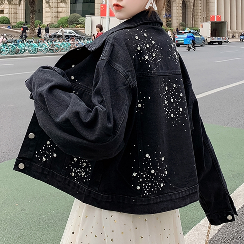 Loose Korean Clothes Fashion Diamonds Denim Jacket Women Coat Lady 2020 New Spring Autumn Black Blue Jeans Outerwear Tops C01514