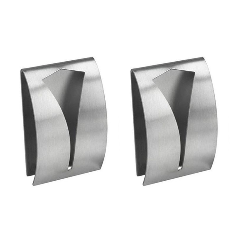 2pcs Stainless Steel Self Adhesive Towel Holder Wall Mounted Hangers Bathroom 35EE