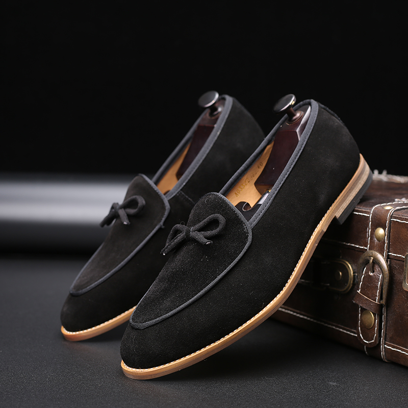 Yomior Real Leather Cowhide Men Shoes Vintage Formal Dress Shoes Business Office Flats Loafers Big Size Wedding Casual Shoes